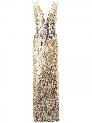 Платье Rose Finch с пайетками Jenny Packham. Цвет: золотистый