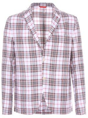 Хлопковый пиджак в клетку ISAIA. Цвет: белый