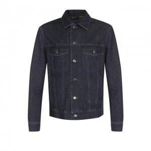 Джинсовая куртка на пуговицах с контрастной прострочкой Brioni. Цвет: синий