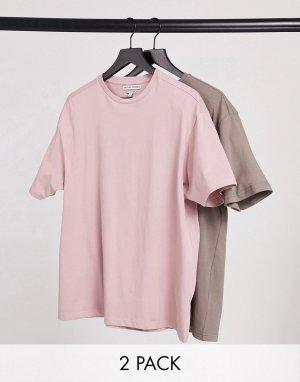 Набор из 2 oversized-футболок лилового и пыльно-коричневого цветов -Многоцветный Another Influence