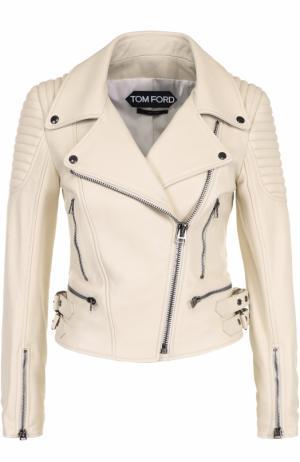 Приталенная кожаная куртка с косой молнией Tom Ford. Цвет: белый