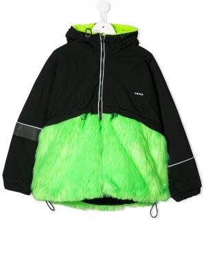 Куртка со вставками из искусственного меха Cinzia Araia Kids. Цвет: зеленый