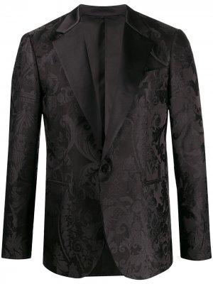 Жаккардовый пиджак Versace. Цвет: черный