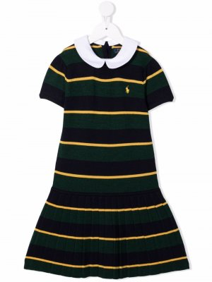 Striped knitted flared dress Ralph Lauren Kids. Цвет: синий