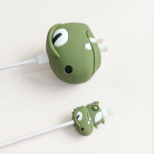 2шт Протектор для кабеля передачи данных в форме динозавра SHEIN. Цвет: армейский зеленый