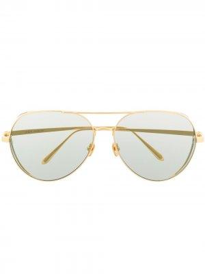 Солнцезащитные очки-авиаторы Linda Farrow. Цвет: золотистый