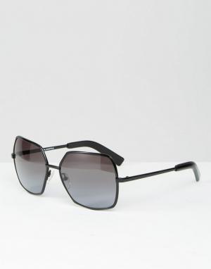Черные солнцезащитные очки в квадратной оправе Karl Largerfeld K by Lagerfeld. Цвет: черный