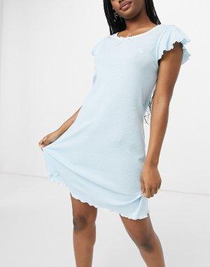 Меланжевая ночная сорочка в голубую полоску Lauren by Ralph Lauren-Голубой