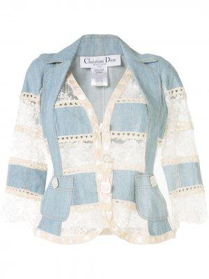 Джинсовая куртка с кружевом Christian Dior. Цвет: синий
