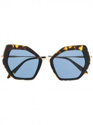 Солнцезащитные очки в массивной оправе черепаховой расцветки Spektre. Цвет: коричневый