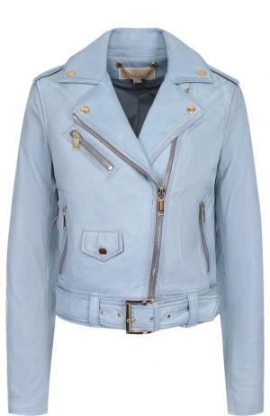 Кожаная куртка с косой молнией MICHAEL Kors. Цвет: голубой