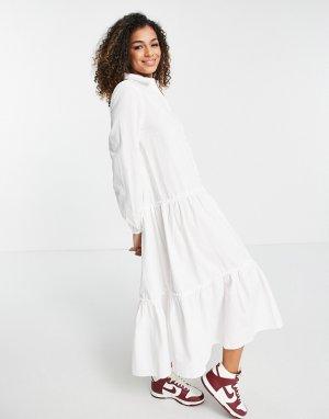 Белое поплиновое платье-рубашка миди -Белый Stradivarius