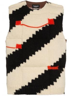 Мохеровый жилет с полосками Calvin Klein 205W39nyc. Цвет: коричневый