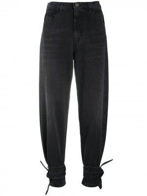 Зауженные джинсы с завязками Pinko. Цвет: черный