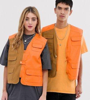 Комбинированный жилет унисекс -Оранжевый Reclaimed Vintage