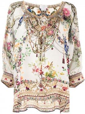 Блузка с длинными рукавами и цветочным принтом Camilla. Цвет: белый