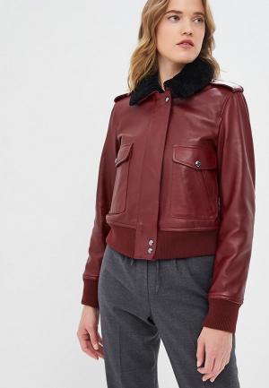 Куртка кожаная Calvin Klein. Цвет: бордовый