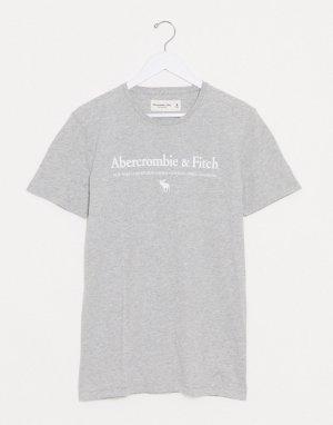 Серая футболка с логотипом на груди -Серый Abercrombie & Fitch