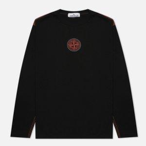 Мужской лонгслив Garment Dyed Embroidery Logo Stone Island. Цвет: чёрный