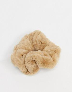Большая резинка для волос из искусственного меха бежевого цвета-Бежевый Pieces