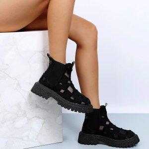 Ботинки челси Рваный вязаный SHEIN. Цвет: чёрный