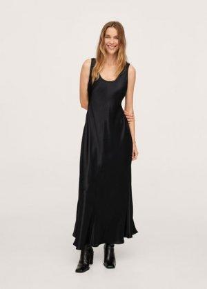 Длинное платье с атласным блеском - Cava Mango. Цвет: черный