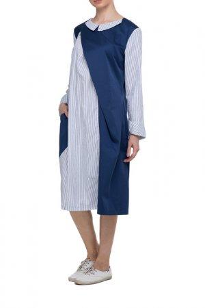 Платье Adzhedo. Цвет: синий, сине-белая полоса