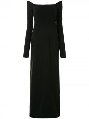 Платье с открытыми плечами и длинными рукавами Carolina Herrera. Цвет: черный