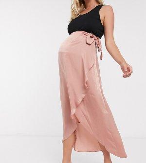 Розовая атласная юбка миди с запахом ASOS DESIGN Maternity-Розовый Maternity