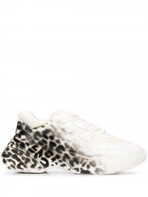 Массивные кроссовки Rubino с леопардовым принтом Pinko. Цвет: белый