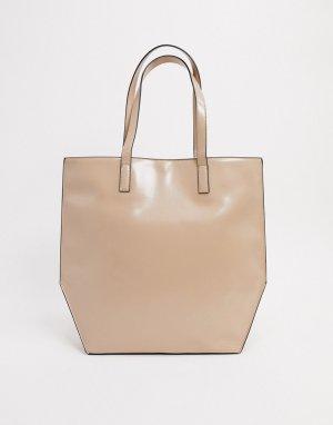 Большая сумка-тоут в нейтральных тонах с изнаночными швами и контрастными краями-Бежевый ASOS DESIGN