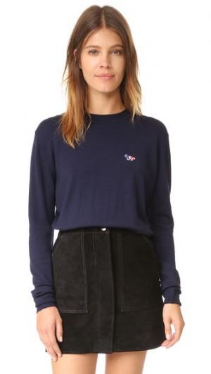 Пуловер с округлым вырезом Maison Kitsune. Цвет: темно-синий