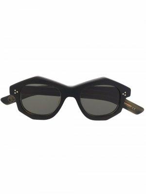 Солнцезащитные очки Dada в геометричной оправе Lesca. Цвет: зеленый