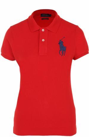 Хлопковое поло с вышитым логотипом бренда Polo Ralph Lauren. Цвет: красный