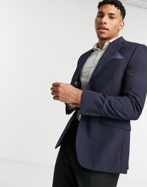 Темно-синий узкий пиджак в тонкую полоску Burton Menswear