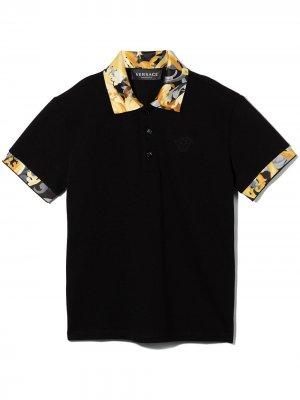 TEEN Baroccoflage-trim polo shirt Versace Kids. Цвет: черный