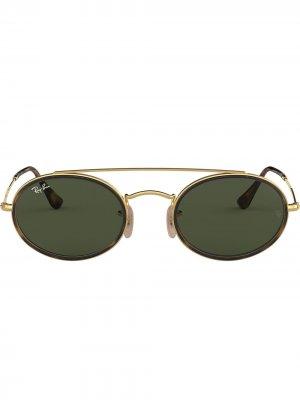 Овальные солнцезащитные очки с двойным мостом Ray-Ban. Цвет: золотистый