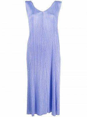 Расклешенное платье с V-образным вырезом Pleats Please Issey Miyake. Цвет: фиолетовый