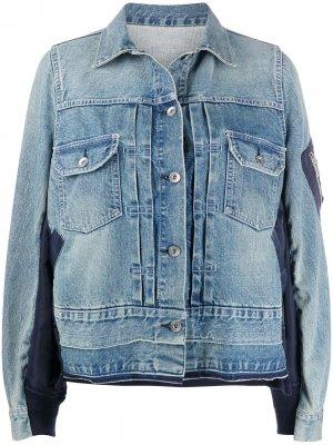 Джинсовая куртка свободного кроя Sacai. Цвет: синий