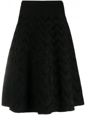 Трикотажная юбка мини с узором зигзаг D.Exterior. Цвет: черный