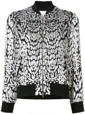 Жаккардовая куртка-бомбер Adam Lippes. Цвет: чёрный