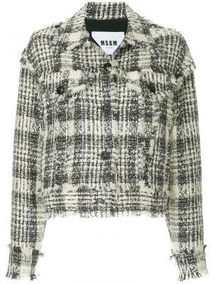 Твидовый пиджак MSGM. Цвет: белый