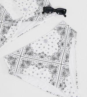 Плавки-бикини с завышенной талией в белом цвете принтом стиле банданы ASOS DESIGN Curve-Мульти Curve