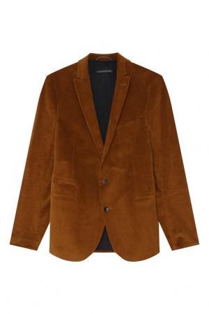 Горчичный вельветовый пиджак Drykorn. Цвет: золотой