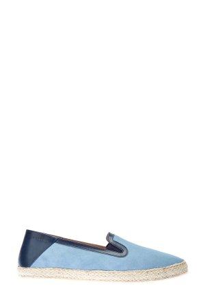 Эспадрильи из замши и кожи кенгуру MORESCHI. Цвет: голубой