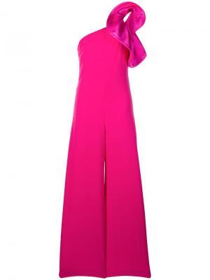Асимметричный комбинезон с оборками ANIYE BY. Цвет: розовый