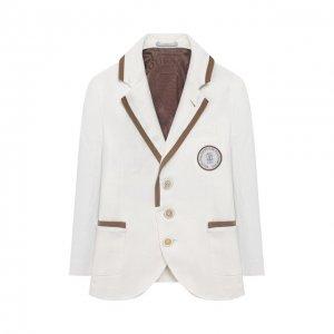 Льняной пиджак Brunello Cucinelli. Цвет: белый