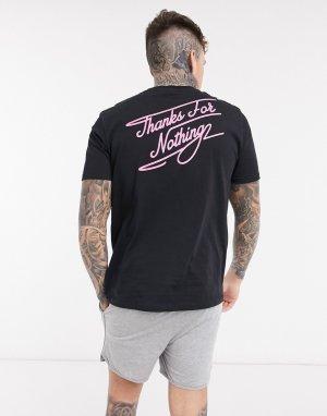 Шорты в спортивном стиле и футболка для дома с надписью thanks for nothing -Черный ASOS DESIGN