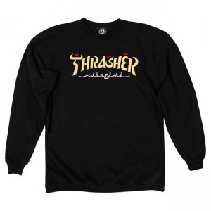 Свитшот Thrasher Calligraphy Crewneck. Цвет: черный