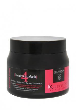 Маска для поврежденных волос Egomania Prof Keratin Hair Academy - тонких, мелированных, после химической завивки 500 мл. Цвет: черный